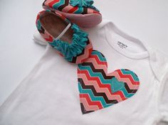 MILA baby girl shoes  multi turquoise chevron with by HarperDaisy on Pinterest.....This lady has some really cute stuff!