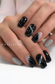 Dark Nail Designs, Square Nail Designs, Short Nail Designs, Acrylic Nail Designs, Acrylic Nails, Nail Designs Bling, Winter Nails, Spring Nails, Summer Nails