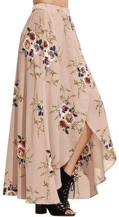 SheIn offers Pink Rose P… Shop Pink Rose Print Asymmetric Wrap Maxi Skirt online. SheIn offers Pink Rose Print Asymmetric Wrap Maxi Skirt & more to fit your fashionable needs. Fashion Mode, Modest Fashion, Fashion Dresses, Womens Fashion, Woman Dresses, Dresses Dresses, Wrap Pants, Mode Hijab, Mode Style