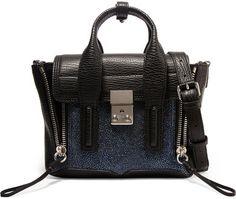3.1 Phillip Lim - The Pashli Mini Textured And Stingray-effect Leather Trapeze Bag - Black