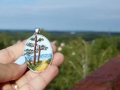 Embroidery necklace Landscape pendant Embroidered jewelry Silver tone, needlework,  by the sea, hand-painted, hand embroidered by EmbroideredJewerly on Etsy