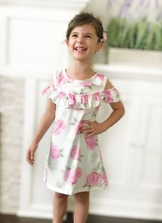 d81119e06b90 Girl s Floral Off the Shoulder Dress