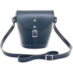 Zatchels - Navy Barrel Bag (£48) ❤ liked on Polyvore featuring bags, handbags, navy handbag, navy blue purse, blue leather handbag, leather handbags and real leather purses