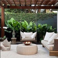 25 Comfy Patio Design Ideas With Style That Can Make Your Backyard More Perfect Backyard Seating, Backyard Patio Designs, Backyard Landscaping, Patio Ideas, Back Garden Design, Terrace Design, Outdoor Living, Outdoor Patios, Outdoor Rooms