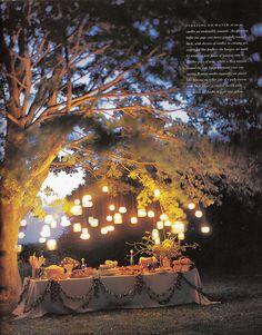 Hanging jar lanterns.