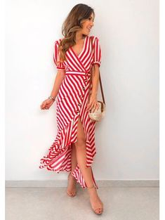 Fashion Style Summer Outfits Stripes For 2019 Summer Shorts Outfits, Summer Fashion Outfits, Preppy Outfits, Skirt Outfits, Modest Dresses, Casual Dresses, Summer Dresses, Stripped Dress, Western Dresses
