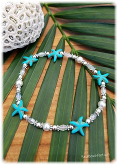 Something Blue Anklet  A perfect complementary anklet with vibrant Caribbean blue starfish with white, Swarovski® Element crystal pearls, glass and silver plated beads.
