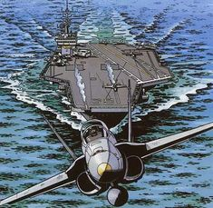 US Military Aviation - Buck Danny Cartoon Airplane, Airplane Art, Airplane Fighter, Fighter Aircraft, Air Fighter, Fighter Jets, Pictures To Draw, Cool Pictures, Buck Danny