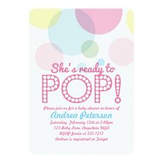 """Perfect for a """"She's about to POP"""" themed baby shower, this card is trendy, whimsical and fun!"""