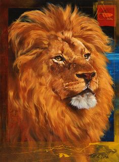 Portrait Of A Lion Painting by Dragan Petrovic Pavle