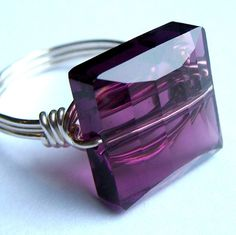 Square Amethyst Crystal Ring Purple Ring Swarovski Crystal Wire Wrapped in…