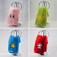 Nintendo Hand Towels - Shut Up And Take My Yen Now you can 'one up' your friends with this awesome bathroom decor. Dress up your home bathroom with these highly geeky, yet highly attractive Nintendo hand towels, without having to spend all your Rupees. Geek Home Decor, Diy Home Decor, Room Decor, Cafe Geek, Nintendo Room, Nintendo Decor, Kirby Nintendo, Geeks, Deco Gamer