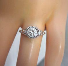 SPECTACULAR .40CT G VVS ANTIQUE DIAMOND 14K WHITE GOLD FILIGREE ENGAGEMENT RING!