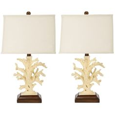 Safavieh Set of 2 Key West Coral Table Lamps ($183) ❤ liked on Polyvore featuring home, lighting, table lamps, cream, beige lamps, warm white lights, safavieh lamps, coral table lamp and ivory table lamp