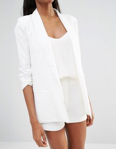 Image 3 of Missguided Gathered Sleeve Tailored Blazer