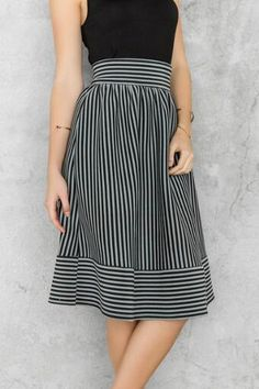 The navy and white Alyce Striped Midi Skirt comes in an a-line silhouette and is a classic closet staple. Long Skirt Outfits, Modest Outfits, Dress Skirt, Midi Skirt, Modern Fashion, Fashion Design, Fashion Over 50, Vintage Skirt, Fashion Dresses