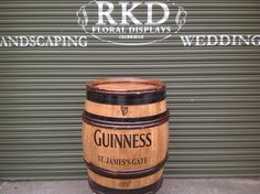 Guinness Wine Barrel By RKD Floral Displays Barrels For Sale, Outdoor Flowers, Guinness, Deco, Wedding Flowers, Whiskey Barrels, Indoor, Display, Wine