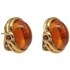 Preowned Palmeira Cabochon Citrine Topaz Gold Earrings ($7,900) ❤ liked on Polyvore featuring jewelry, earrings, multiple, orange earrings, topaz earrings, bezel setting earrings, 18k yellow gold earrings and 18k gold earrings