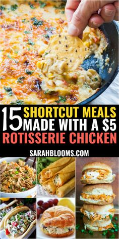 Super Easy + Delicious Rotisserie Chicken Shortcut Meals meals to make 15 Easy + Affordable Rotisserie Chicken Shortcut Meals - Sarah Blooms Frugal Meals, Budget Meals, Budget Cooking, Food On A Budget, Healthy Recipes On A Budget, Healthy Summer Recipes, Healthy Cooking, Cooking Recipes, Easy Cooking