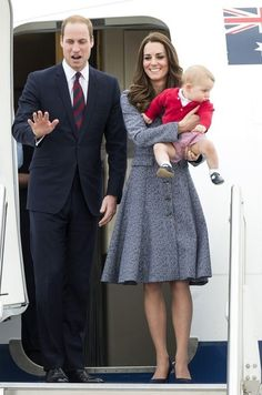 Kate Middleton - The Royal Family Leaves Canberra..I love this pic!  Happy Family and Prince George is adorable!