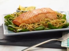 Whole-Wheat Spaghetti with Lemon, Basil, and Salmon from CookingChannelTV.com