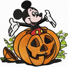 Shoply.com -Mickey Mouse Halloween Pumpkin Machine Embroidery Design. Only $3.99