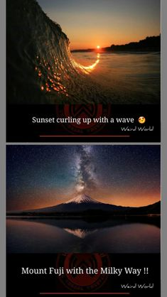Mount Fuji, Weird World, Milky Way, Waves, Sunset, Weird, World, Fuji Mountain, Sunsets