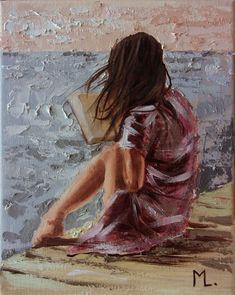 Read. It's a wonderful thing! Paintings For Sale, Original Paintings, Oil Painting On Canvas, Canvas Art, Reading Art, Arte Sketchbook, Beach Art, Anime Art Girl, Lovers Art
