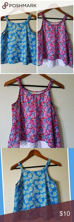 Two flowy tops size XL (14-16) Two cute flowy tops in size XL (14-16)// sheer with a sewn on cami// good condition// one in blue with daisies and second in magenta multi colored flowers Shirts & Tops