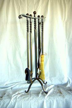 Twisted Handle Fireplace Tool Set