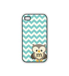 Owl iPhone Case Chevron Rubber iPhone Case in Turquoise with Monogram - Personalized Owl Phone Case Owl Phone Cases, Phone Covers, Iphone Cases, Rubber Iphone Case, Cute Cases, Love Craft, Chevron, Initials, Monogram