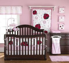 Lady Bug Nursery  Pretty Pink Ladybug Crib Bedding- Pretty in Pink is the perfect crib set for your  pink loving baby girl. Lady Bugs are the very  cute theme to this crib set and they will add that  bit of fun that you are looking for into your  nursery's decor. You will surly love this stylish  crib set!
