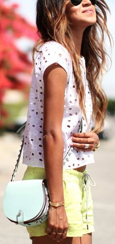 love this! mint cross body with lime shorts and simple white top  Bliss XO online retailer launching summer 2013