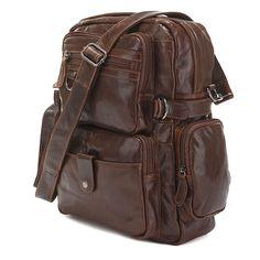 Mens Leather Bags : Cowboy Vintage Leather Travel Backpack Bookbag Schoolbag Hiking Messenger Bag