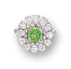 1.68 carat FANCY VIVID YELLOWISH GREEN DIAMOND, PINK DIAMOND AND DIAMOND RING, NIRAV MODI - Sotheby's
