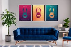 Excited to share the latest addition to my #etsy shop: Set of 3 porsche posters, porsche 964 vintage, printable poster, for livingroom, dining room, office