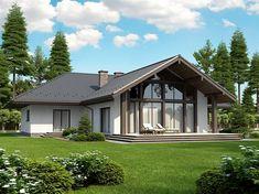 projekt Lemko Termo - February 09 2019 at Dream Home Design, Home Design Plans, Modern House Design, New House Plans, House Floor Plans, Village House Design, Bungalow Renovation, Dream House Exterior, House Layouts