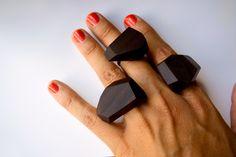 Wood&cut Ebony rings