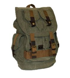 #Army Green #Canvas School Travel Rucksack #Backpack with Many Pockets