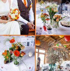 mariage rétro orange et rouge par Marie Pétale www.mariepetale.fr