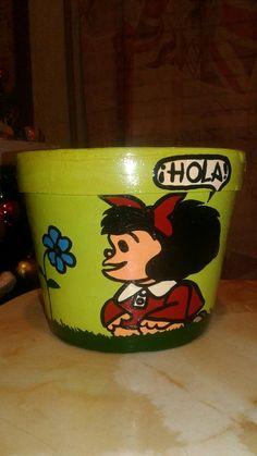 Maceta Mafalda Hola (verde manzana)