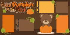 Silhouette Design Store: cutest pumpkin in the patch 2 page scrapbook kit
