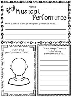 Music Performance Self Evaluation Worksheets, K-3