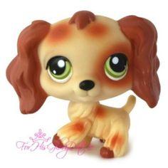 ✵Littlest Pet Shop✵BROWN TAN CREAM PUZZLE NO # COCKER SPANIEL PUPPY DOG✵GREEN✵