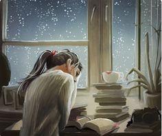 Reading in the Rain Illustration Reading Art, Woman Reading, Girl Reading Book, Reading Books, Reading Time, Art And Illustration, Anime Art Girl, I Love Books, Book Lovers