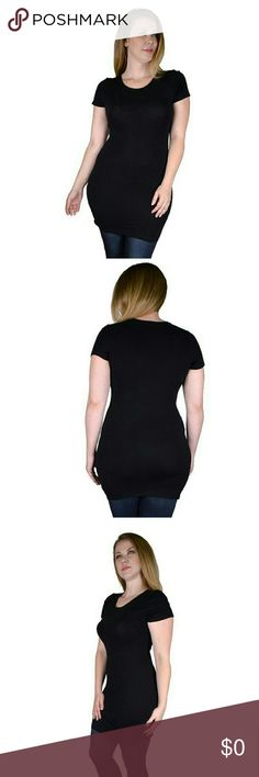 Plus Size Solid Short Sleeves Tunic 1XL.2XL.3XL 95% Cotton 5% Spandex Black? Tops Tunics