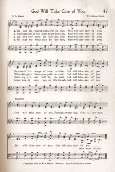 Hymn Story ~  God Will Take Care of You