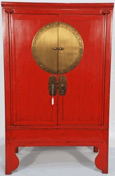 Antique Asian Furniture: Chinese Antique Wedding Cabinet with Brass Zodiac Medallion from Zhejiang Province, China