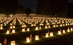 Fredericksburg National Cemetery annual Memorial Day luminaria for the more than 15,000 Union soldiers buried within.