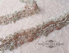 Rose gold bridal belt, Rose gold belt, rose gold sash, luxury bridal belt, wedding dress belt, blush belt, hand beaded belt, jewelled belt